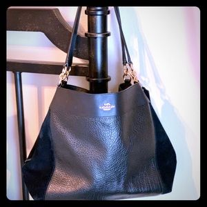 Black Leather Coach Purse with Gold Hardware
